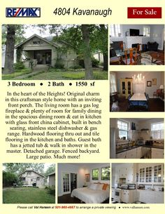 Nicely updated one level home in great central location off Kanis and Bowman. In the kitchen: Granite counters & backsplash, stainless steel appliances, updated hardware & lighting. One Level Homes, Little Rock, Granite Counters, Stainless Steel Appliances, Stone Tiles, Painting Cabinets, Craftsman Style, Hardwood Floors, Flooring