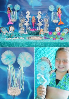 Trend Alert: Fin tastic Mermaid Parties! by Tonya from Soiree Event Design Honored to see www.titistutus.etsy.com wands styled so beautifully!