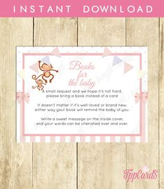 New to TppCardS on Etsy: Instant Download Pink Monkey Book Request for Girl Monkey Book in Lieu of Card Pink Stripes Baby Shower Book Instead of Card (4.00 EUR)