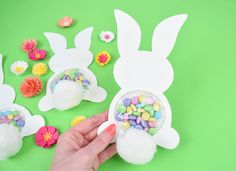 Candy Filled Easter Bunny Craft: Free Easter Bunny SVG Cut File. Learn to make your own adorable candy filled bunnies this Easter! Free templates included!