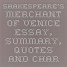 Merchant of venice essay