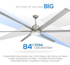 Clean Contemporary Design Large Industrial Ceiling Fan With High Efficiency  Dc Motor, Extruded Aluminum