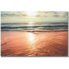 Sunset Beach Reflections Canvas Wall Art (€110) ❤ liked on Polyvore featuring home, home decor, wall art, backgrounds, beach, pictures, scenery, fillers, multicolor and horizontal wall art