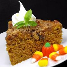 Pumpkin Coffee Cake Recipe Afternoon Tea, Breads, Breakfast and Brunch with brown sugar, sugar, ground cinnamon, butter, chopped pecans, butter, sugar, eggs, sour cream, pumpkin, vanilla extract, all-purpose flour, baking soda, baking powder, pumpkin pie spice, salt