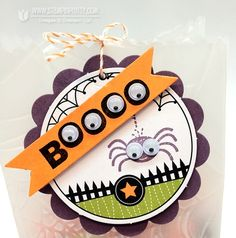 "Print the word ""BOOOOO"" onto orange cardstock and affix googlie eyes"