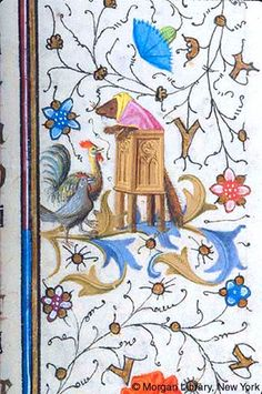 Wasel, dressed as preacher, stands in pulpit preaching to cock and hen | Book of Hours | France, Provence | ca. 1440-1450 | The Morgan Library & Museum