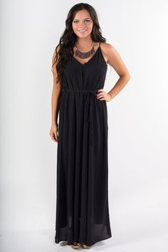 Shop our Chiffon Maxi Dress with Tie Waist. Maxi dress with exposed back and tassle ties. Free shipping on all orders of $50 or more.