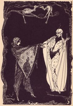 A 1960 edition of Goethe's Faust. Harry Clarke was an Irish artist who was known for his book illustrations and stained glass creations. Important figure in the Arts and Crafts movement and was heavily influenced by Art Nouveau and Art Deco Harry Clarke, Art And Illustration, Black And White Illustration, Book Illustrations, Faust Goethe, Goethe's Faust, Alphonse Mucha, Art Nouveau, Aubrey Beardsley