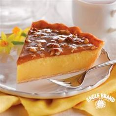 Recipe: Praline Custard Pie Summary: After the feast, after round two, before the coma: Would you like a slice of pie?) can Eagle Brand Sweetened Condensed Milk 1 . Brownie Desserts, 13 Desserts, Great Desserts, Delicious Desserts, Pie Recipes, Sweet Recipes, Dessert Recipes, Cooking Recipes, Recipies