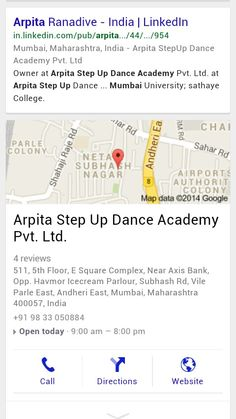 Arpita Step Up Dance Academy google map.   Try it on google.com without logging in.