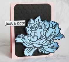 Just a Note Peony Flower Card