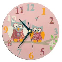 Pink Owl Clock and Door Sign Gift Set - Folksy