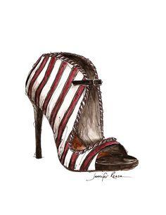 Tabitha Simmons Shoe Watercolor Fashion Sketch Print.