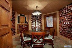 Subterranean Wine Cellar & Tasting Room With Spanish Clay Tile Bottle Racks.  #orangecounty Newport Beach, Ca