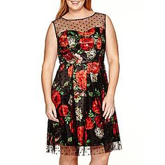 jcp   Studio 1® Sleeveless Mesh-Overlay Fit-and-Flare Dress - Plus