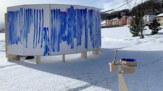 during the 2020 engadin art talks, jeppe hein invited the audience to paint their own 'breath' as part of his participatory artwork, breathe with me. Big Architects, Places In New York, Watercolor Projects, Climate Action, Wall Canvas, Blue Stripes, Breathe, Blue Lines, Architecture