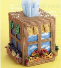 "Plastic Canvas Free Santa Pattern | FOUR SEASONS WINDOW TISSUE BOX COVER""~Plastic Canvas PATTERN ONLY"