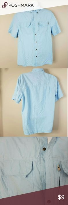 Field And Stream Blue Fishing Camping Button Up Good used condition. One Missing Button. New one could easily be sewn on. Armpit to Armpit - 21 inches Shoulder to Hem - 27 inches Shoulder Span - 18 inches Field and Stream Shirts Casual Button Down Shirts
