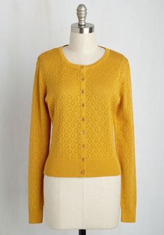 We're Sweater Together Cardigan. Its true that a traipse around town is better with this pointelle cardigan! #yellow #modcloth