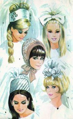 1960s wedding headpieces | 1960s Mod BRIDAL CAPS, VEILS Wedding Head Pieces Pattern Five Styles ...
