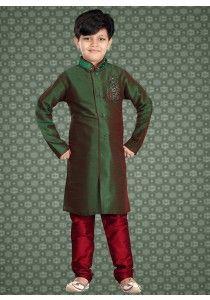 7881ee17d indo Style Traditional Kids Wear Kurta Pajama in Green color M16100 Boys  Kurta
