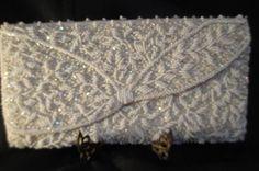 Vintage 1950s Heavily Beaded Ivory Silk Envelope/Clutch Purse Evening Bag #Clutch