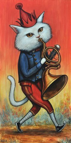 """Kelly Vivanco """"Horn Player"""" Acrylic on Panel, 20 x 10 inches"""