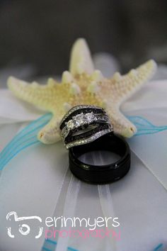 Wedding rings- totally what I want! Love the black. Could be sapphire too.