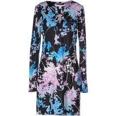 Diane Von Furstenberg Short Dress ($190) ❤ liked on Polyvore featuring dresses, black, short floral dresses, long sleeve mini dress, floral print dress, long sleeve short dress and long sleeve jersey