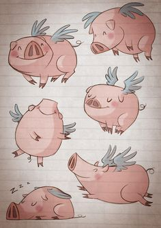 silvia_ilustracion: Ilustracion - love it!  Reminds me of Cincinnati's flying pigs :)
