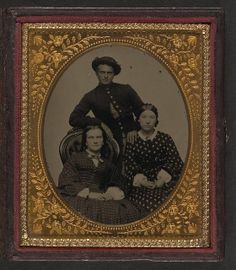 [Unidentified soldier in Union uniform and two women] (LOC) by The Library of Congress, via Flickr