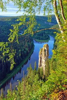 The Usva River in the Ural Mountains, Russia.