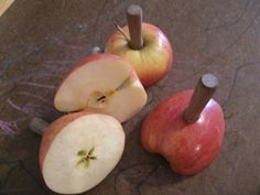 Use a corn sticker to turn an apple into a stamp, also tonns of apple ideas on this page.