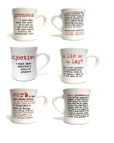 Grammar Mugs! I am just geeky enough to think these are awesome!!! (via The Virginia Shop at the Library of Virginia)
