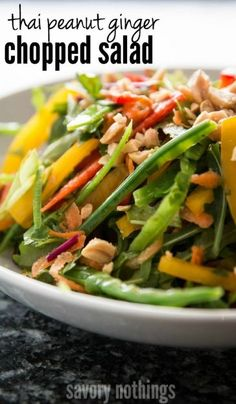 The best thai chopped salad recipe EVER! Complete with a creamy peanut ginger dressing - this is such an awesome healthy meal for lunch or dinner!