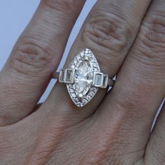 18k WG Estate Art Deco Style Engagement Ring 1.14 Marquise Center Stone with GIA Papers. $8,000.00, via Etsy.