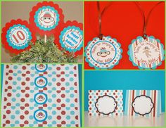 12 Red and Turquoise Sock Monkey Theme by DreamPartyPaperie, $12.00