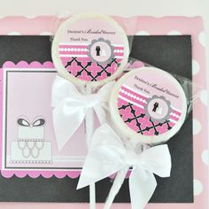 Personalized Lollipop Favors - Wedding Shower created by Event Blossom. Edible Wedding Favors, Wedding Shower Favors, Personalized Wedding Favors, Party Favors, Pink Wedding Theme, Candy Bar Wrappers, Shower Invitations, Special Day, Bridal Showers