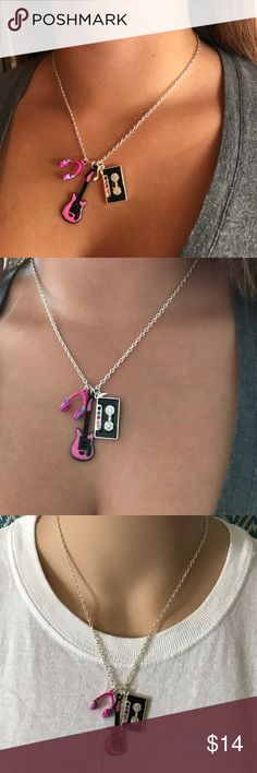 "🎶 MUSIC 🎶 Love of music 🎶 this is a super cute music charmed necklace ❤️ ( guitar, boombox with cute stones and a music note attached, and a pair of headphones)  Measurements 18"" long Jewelry Necklaces"