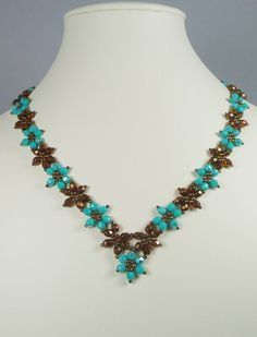 Woven Flower Necklace and Earrings in Turquoise by IndulgedGirl