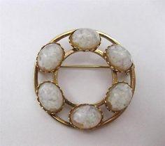 Beautiful VTG 1/20 12K Gold Filled Art Deco Floating Opal Eternity Brooch Pin