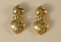 Pierced Earrings of Gold Colored Metal Double Hearts with Rhinestones by JohnGermaine on Etsy