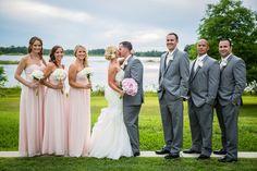 Bill levkoff petal pink bridesmaids dresses