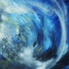 An acrylic abstract painting depicting the crashing of waves in a stormy sea.  The piece measures 100cm x 100cm on 3.8cm deep stretched canvas.   Fitted with sawtooth hangers delivered ready to...