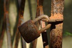 A rusty garden gate . . .