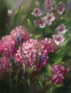 Wild Hydrangeas by Mary Aslin Pastel ~ 12 x 9