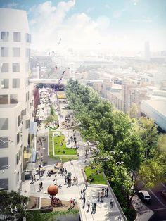 The Goods Line Project: O novo centro urbano de Sydney Landscape And Urbanism, Urban Landscape, Landscape Design, City Landscape, Architecture Visualization, Architecture Drawings, Architecture Diagrams, Architecture Portfolio, Rendering Architecture