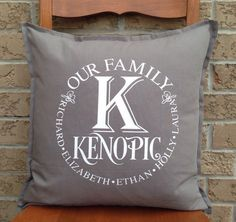 Personalized Pillow with Family Name Custom Family by PMWBoutique