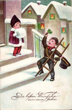 42376 Neujahr 1936 - Schornsteinfergerkind, Mädchen auf der Treppe | eBay