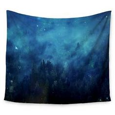 "Blue Black 888 Design Blue Night Forest Wall Tapestry (51""x60"") - Kess InHouse : Target"